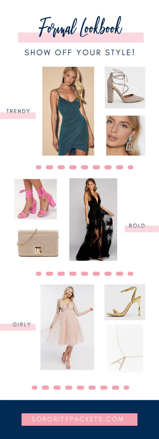 graphic with a variety of clothing options for sorority girls to wear at formals