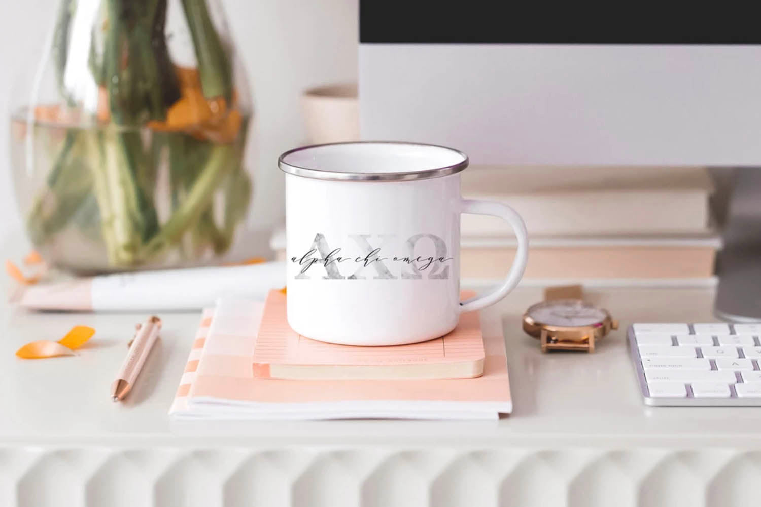 marble greek lettered sorority mug