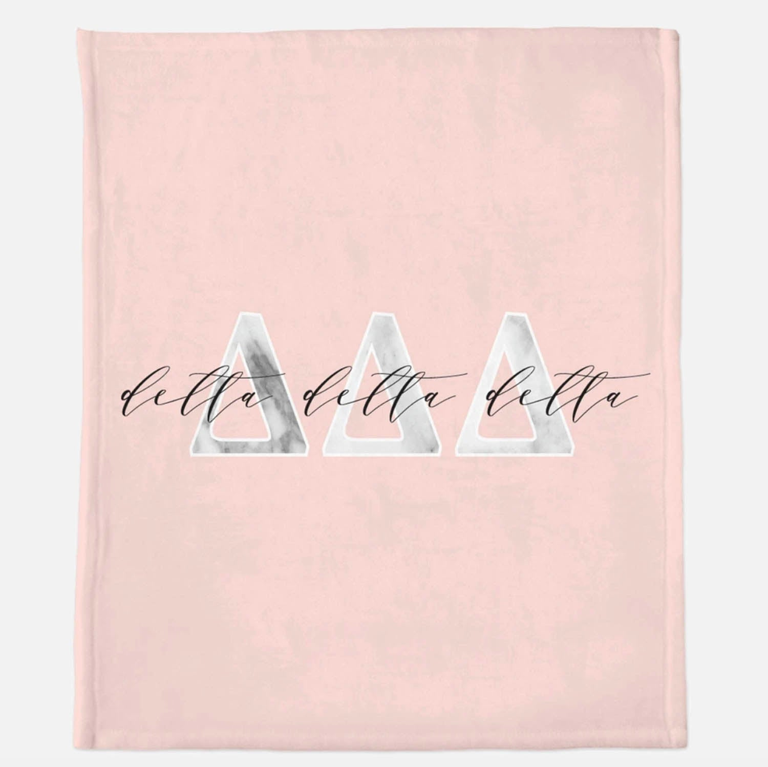 Greek Sorority Marble Lettered Pink Blanket