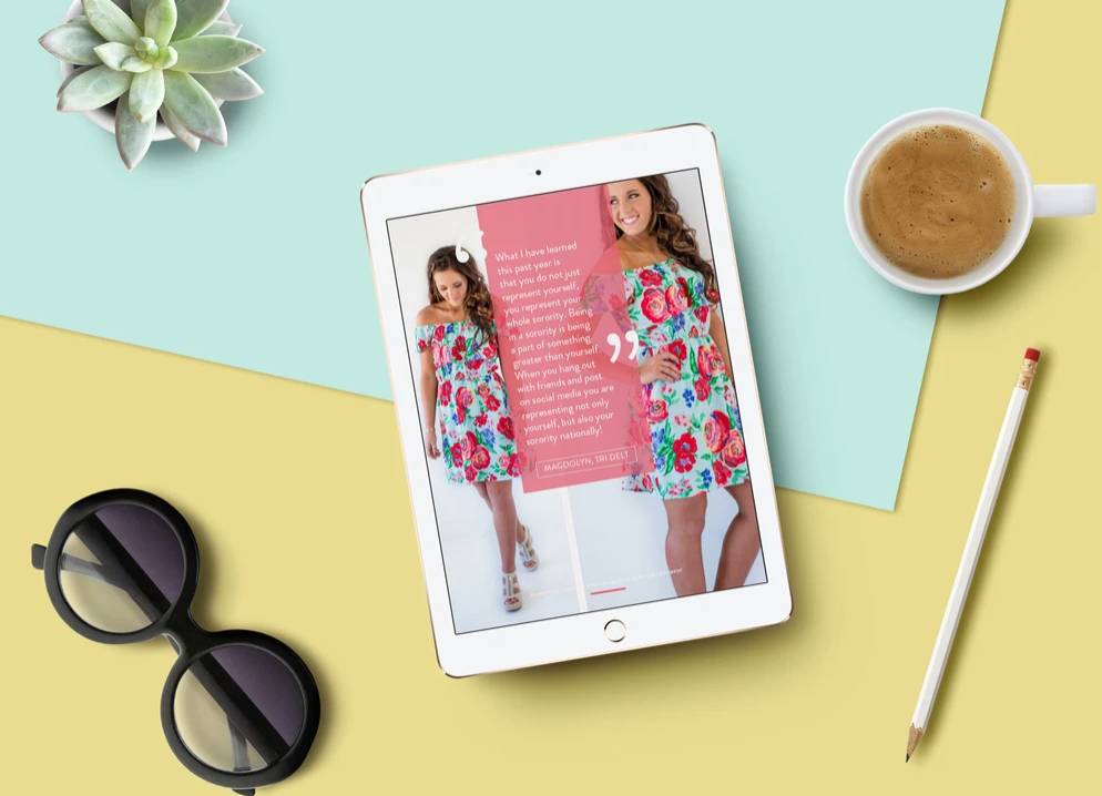 Sorority blog on tablet