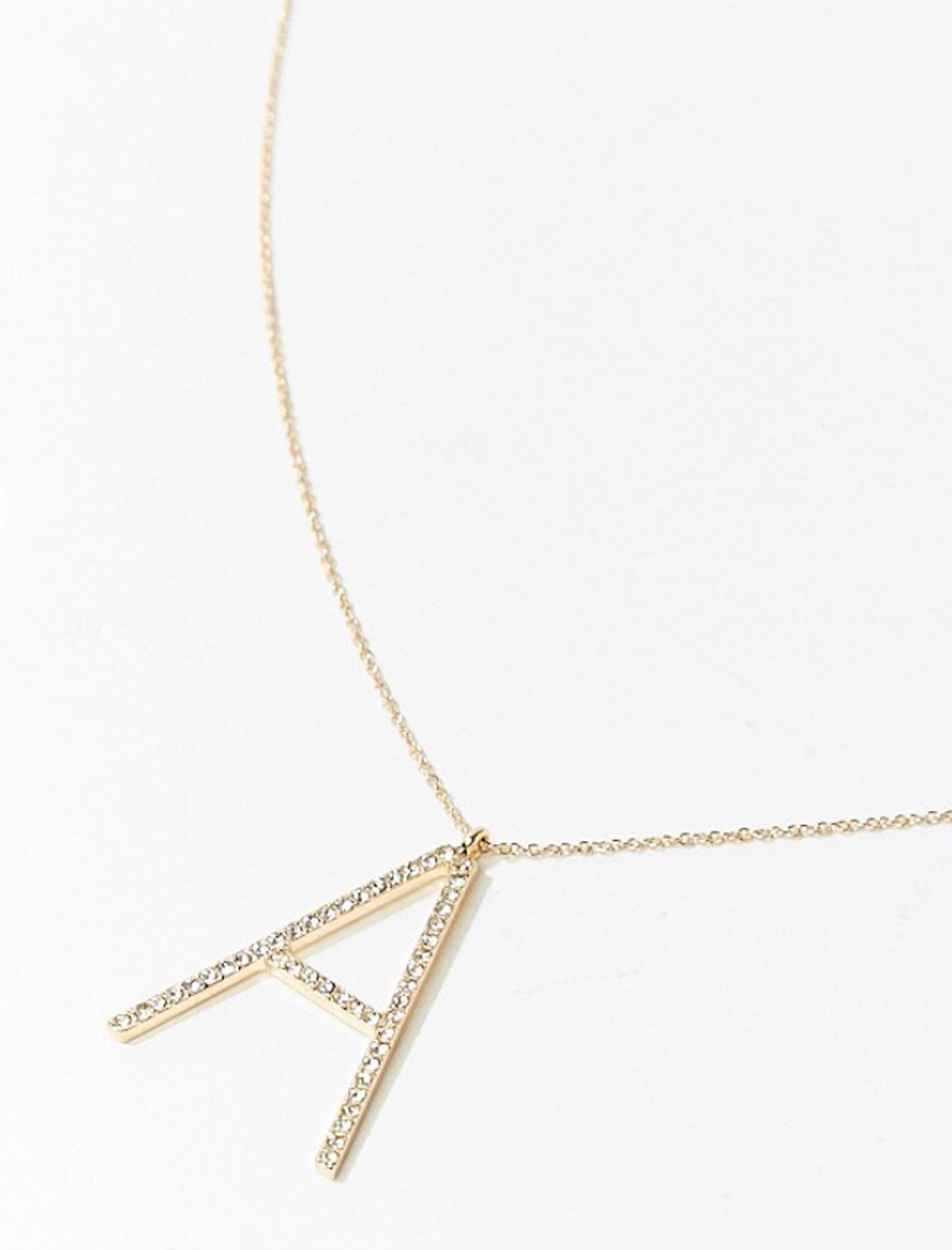 Rhinestone necklace shown with letter A