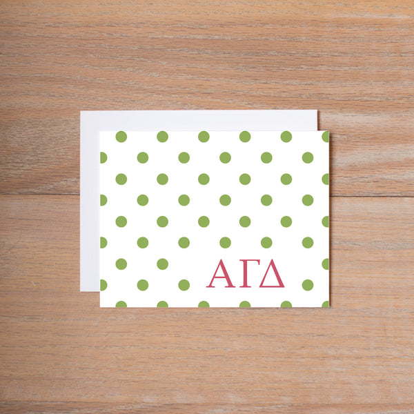 Alpha Gamma Delta Dotted Sorority Note Card