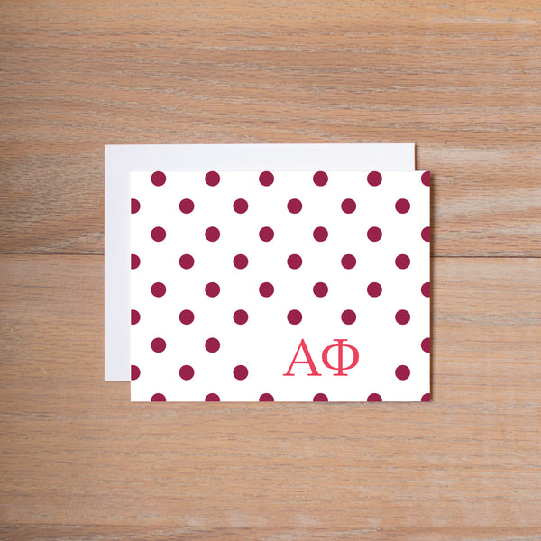 Alpha Phi Dotted Sorority Note Cards