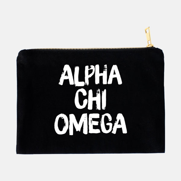 Alpha Chi Omega Black and White Greek Cosmetic Bag