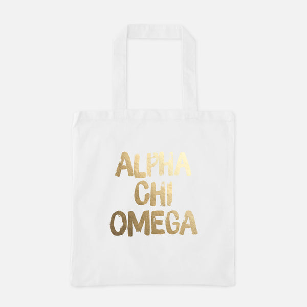 Alpha Chi Omega Gold Foil Greek Tote