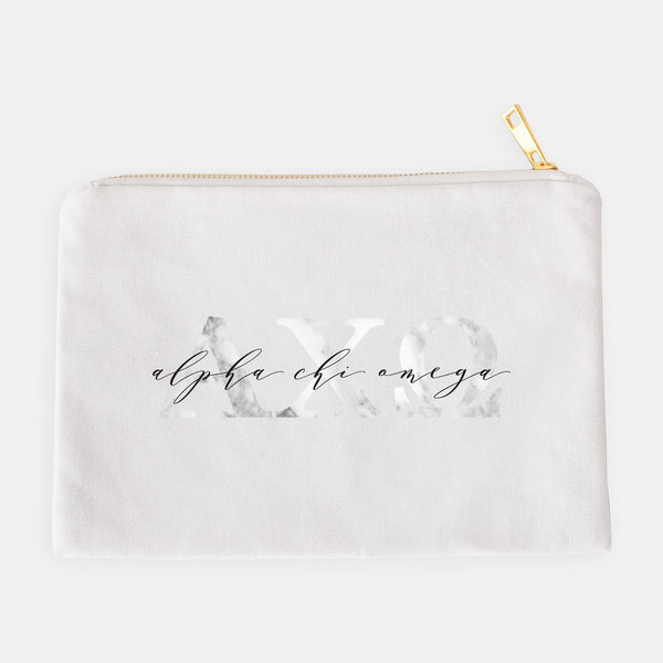Alpha Chi Omega Marble Cosmetic Bag