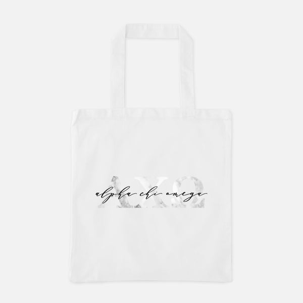 Alpha Chi Omega Marble Greek Letters Tote