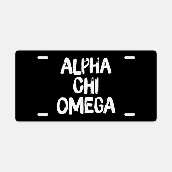 Alpha Chi Omega Black & White Brush Stroke Sorority License Plate