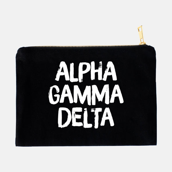 Alpha Gamma Delta Black and White Greek Cosmetic Bag