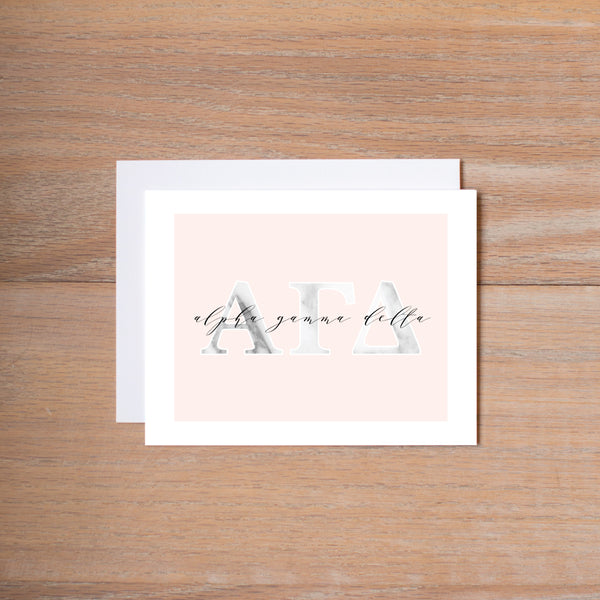 Alpha Gamma Delta Marble & Blush Sorority Note Cards