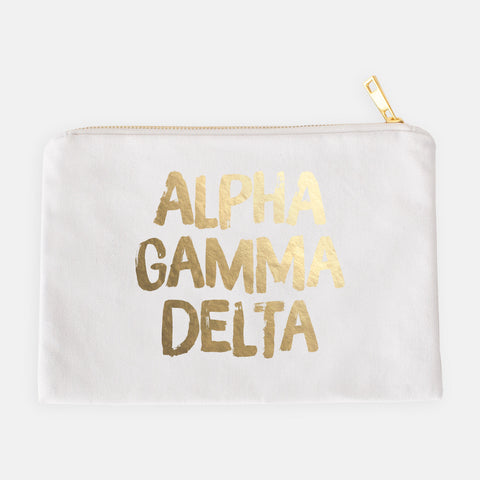 Alpha Chi Omega Gold Foil Greek Cosmetic Bag
