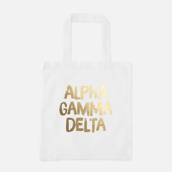 Alpha Gamma Delta Gold Foil Greek Tote