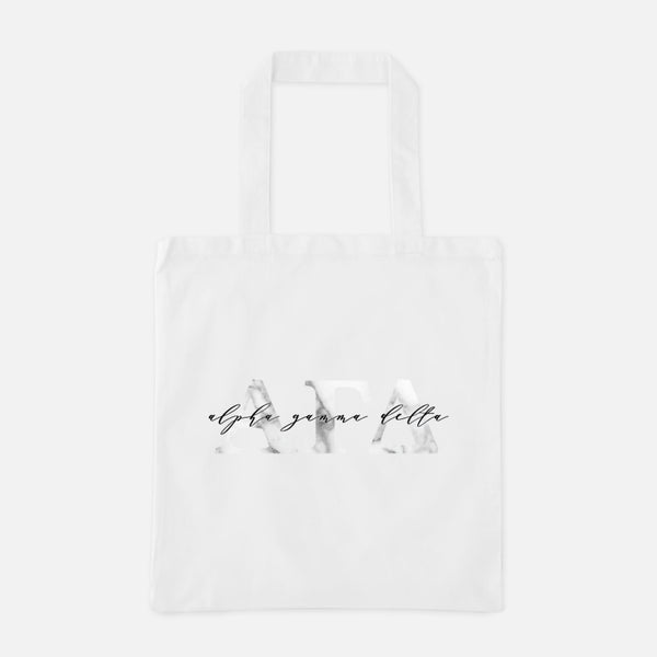 Alpha Gamma Delta Marble Greek Letters Tote