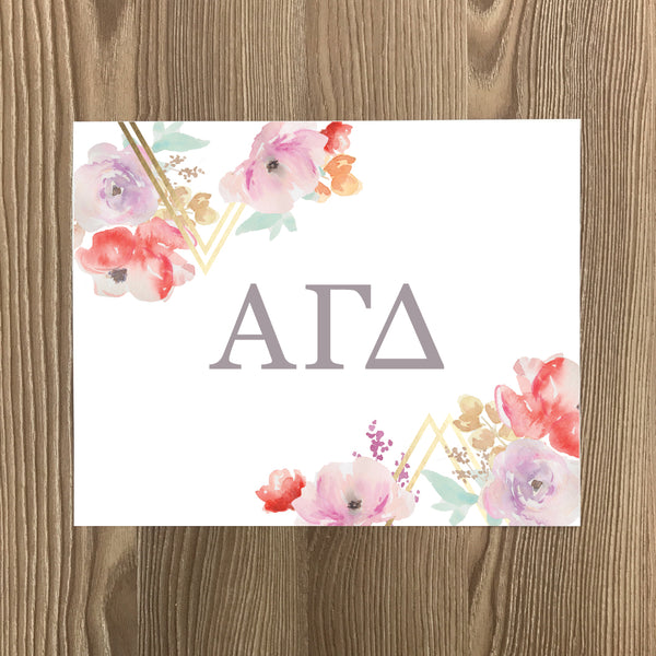 Alpha Gamma Delta Geometric Bouquet Art Print