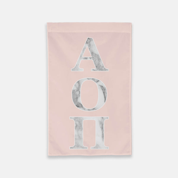 Alpha Omicron Pi Vertical Greek Letter Flag