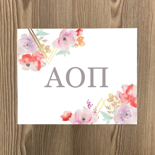 Alpha Omicron Pi Geometric Bouquet Art Print