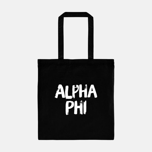 Alpha Phi Black and White Greek Tote
