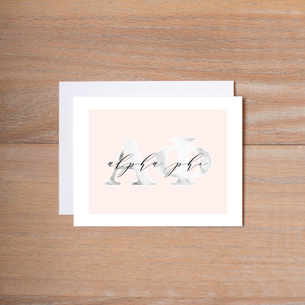 Alpha Phi Marble & Blush Sorority Note Cards