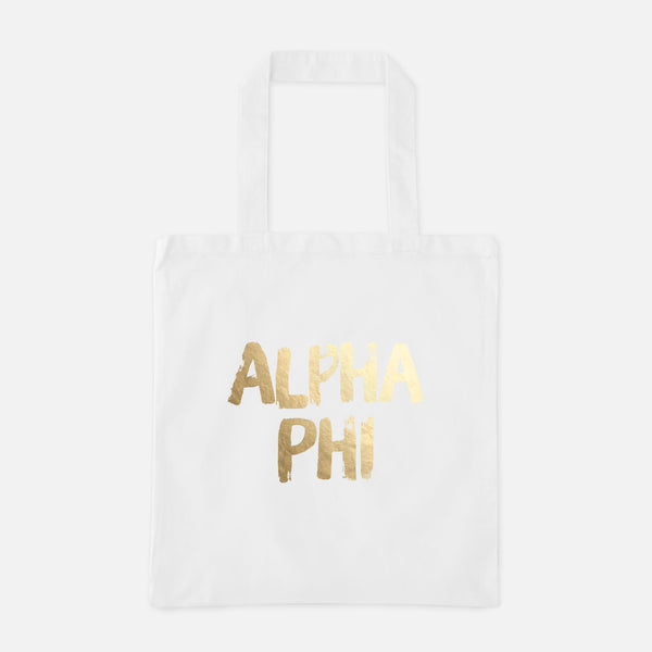 Alpha Phi Gold Foil Greek Tote