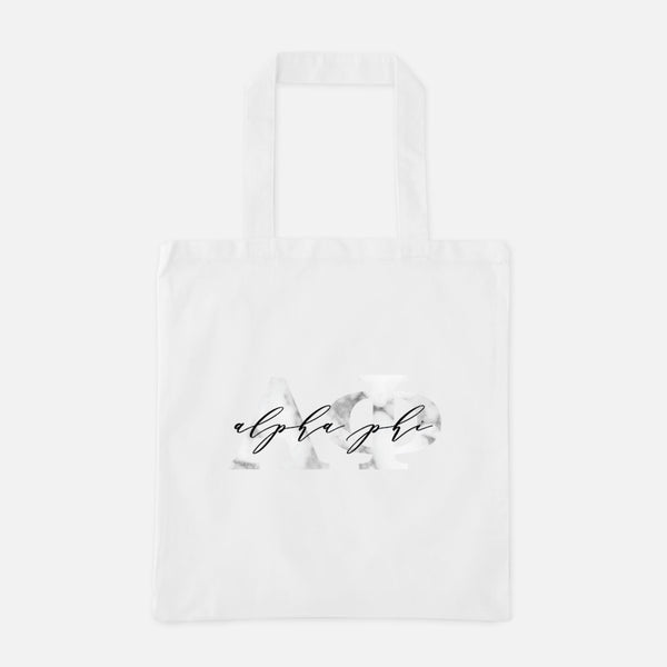 Alpha Phi Marble Greek Letters Tote
