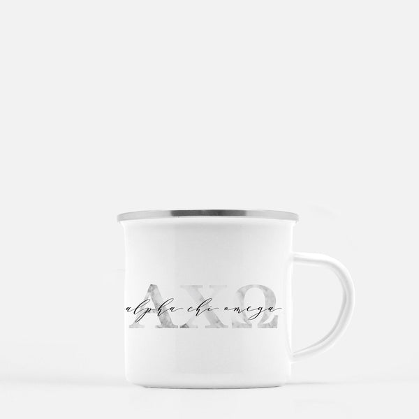 Alpha Chi Omega Metal Sorority Camp Mug