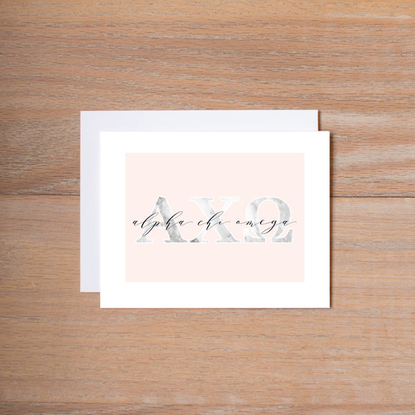 Alpha Chi Omega Sorority Note Cards in Marble and Blush