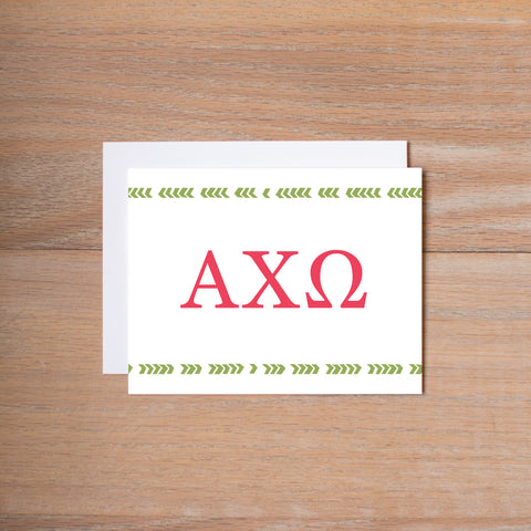 Alpha Chi Omega Boho Sorority Note Cards