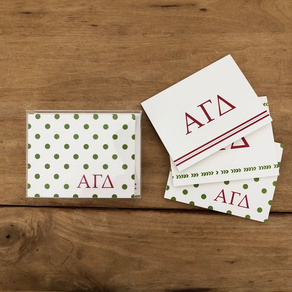 Mixed sorority note cards (set of 12—4 Boho, 4 Preppy, and 4 Dotted cards in traditional sorority colors)
