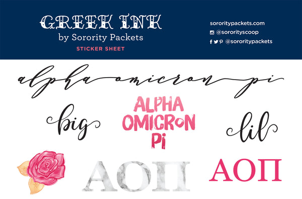 Alpha Omicron Pi Sticker Set