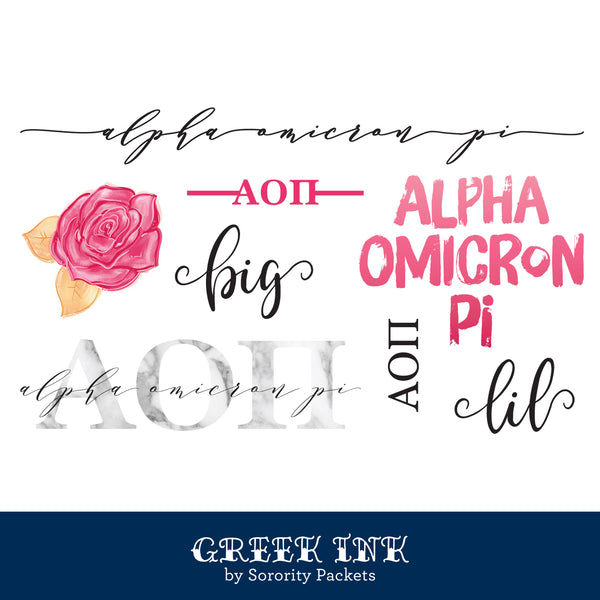 Alpha Omicron Pi Sorority Tattoo Set