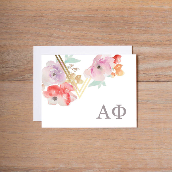 Alpha Phi Geometric Bouquet Sorority Note Card