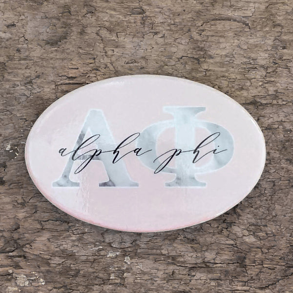 Alpha Phi Marble & Blush Greek Buttons