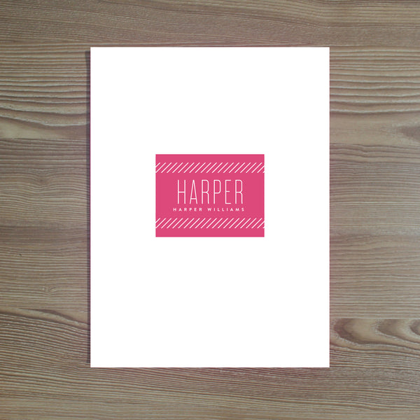 Big Name folder sticker shown in Peony & Black on White pocket folder