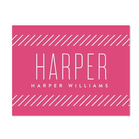Big Name folder sticker shown in Peony on White pocket folder