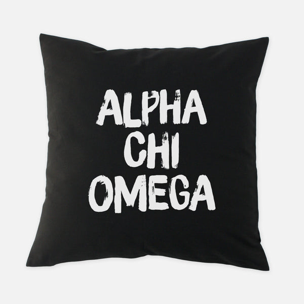 Alpha Chi Omega Black & White Brush Stroke Sorority Pillow