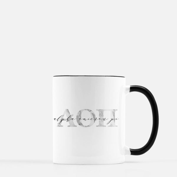 Alpha Omicron Pi Marble & Black Sorority Mug