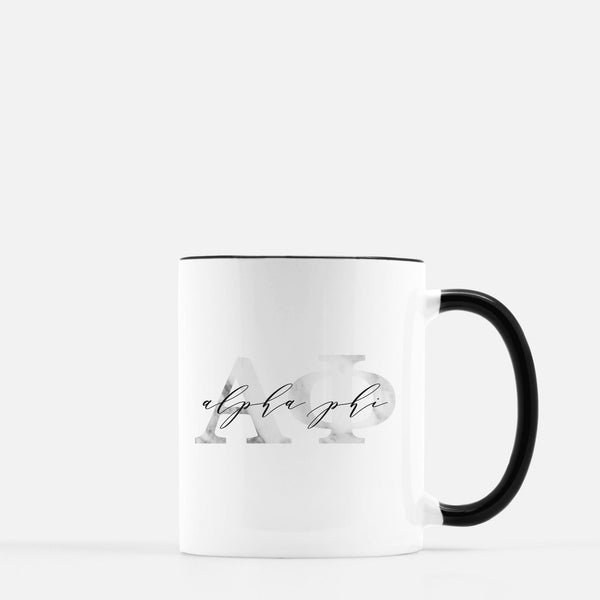 Alpha Phi Marble & Black Sorority Mug