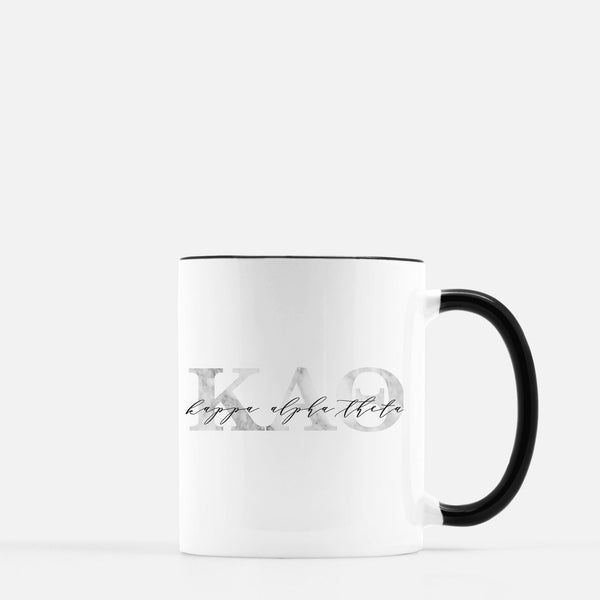 Kappa Alpha Theta Marble & Black Sorority Mug