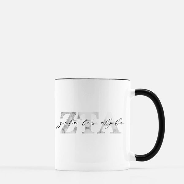 Zeta Tau Alpha Marble & Black Sorority Mug