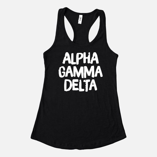 Black tank with white lettering