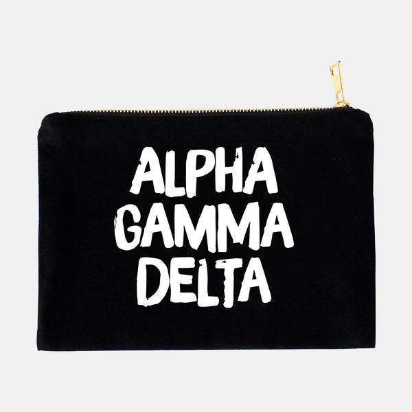 Black makeup bag with white lettering