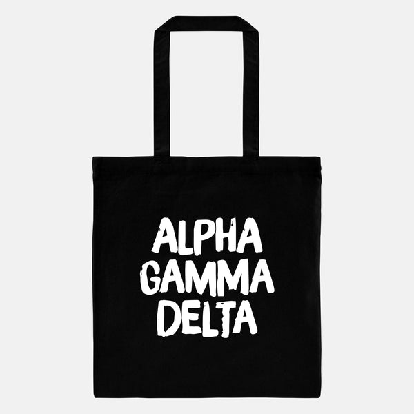 Black tote with white lettering