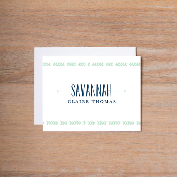 Boho Chic personal note card shown in Green Tea & Night