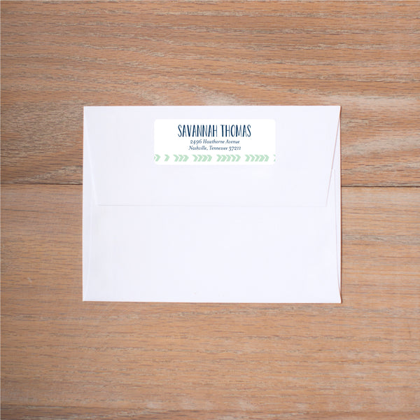 Boho Chic return (home) address label shown in Green Tea & Night