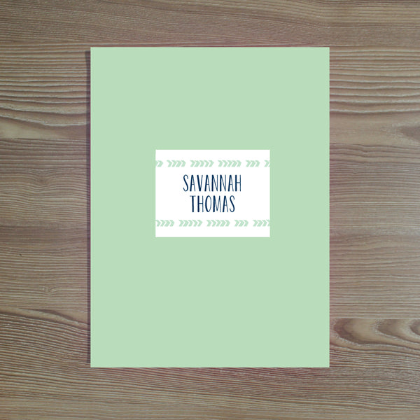 Boho Chic folder sticker shown in Green Tea & Night on Green Tea pocket folder