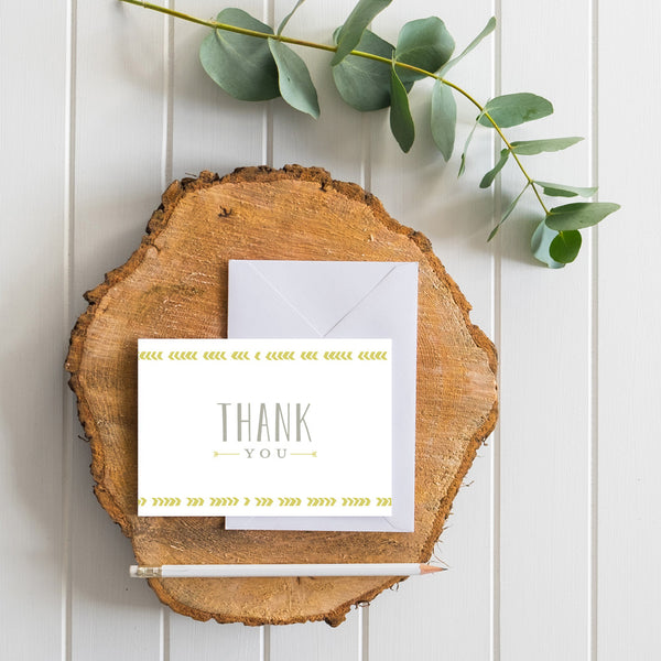 Boho Chic generic thank you cards in Chartreuse