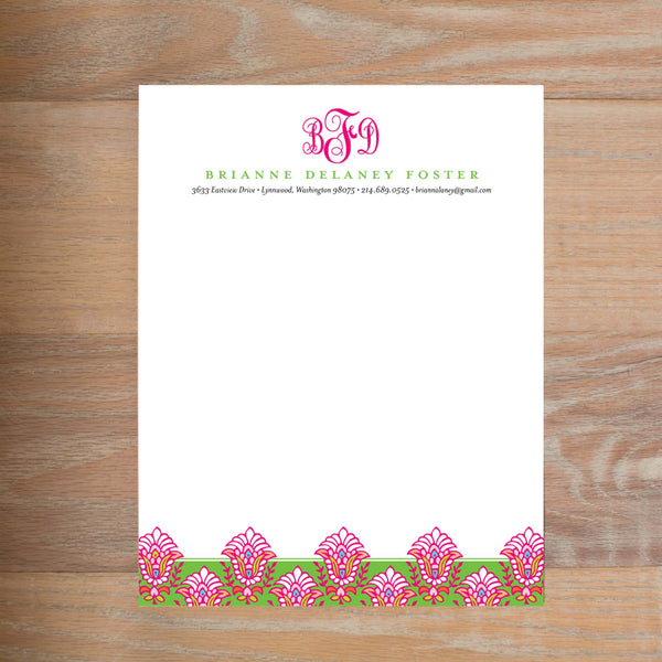 Bright Garden social resume letterhead without formatting shown in Peony & Jungle