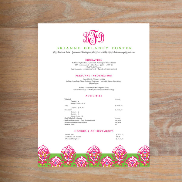 Bright Garden social resume letterhead with full formatting shown in Peony & Jungle