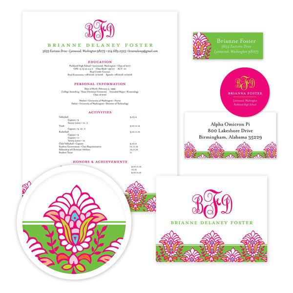 Bright Garden Sorority Packet shown in Peony & Jungle