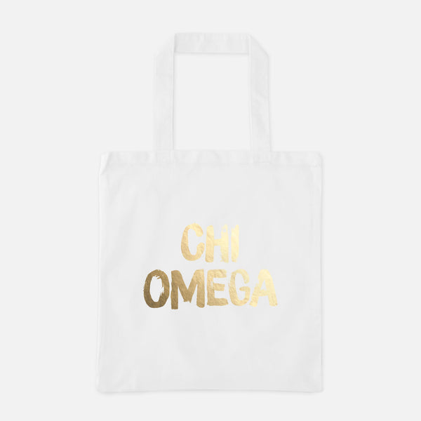 Chi Omega Gold Foil Greek Tote